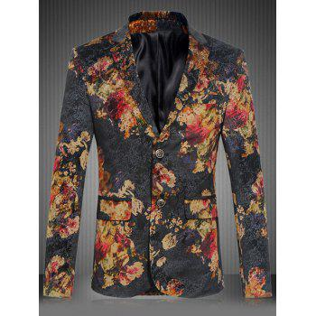 Plus Size Floral Pattern Lapel Single Breasted Design Blazer