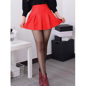PU High Waisted Mini Pleated Pantskirt