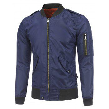 Epaulet Embellished Stand Collar Zip-Up Jacket