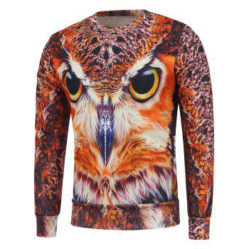 Buy Crew Neck Fleece Lining Owl 3D Printed Sweatshirt ORANGE RED