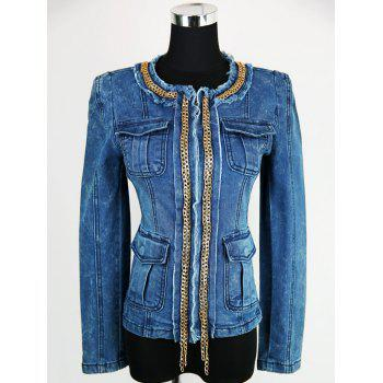 Embellished Zip Up Denim Jacket