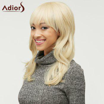 Stylish Fluffy Natural Wave Full Bang Capless Light Blonde Long Heat Resistant Synthetic Women's Wig - GOLDEN