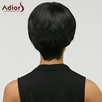 Fashion Natural Straight Side Bang Capless Spiffy Short Black Synthetic Wig For Women - BLACK