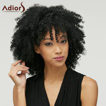 Fluffy Afro Curly Heat Resistant Fiber Fashion Medium Capless Adiors Wig For Women - BLACK
