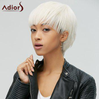 Manly Synthetic Short Straight Full Bang Women's Rice White Hair Wig - OFF WHITE