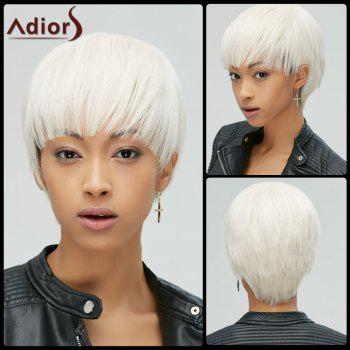 Manly Synthetic Short Straight Full Bang Women's Rice White Hair Wig