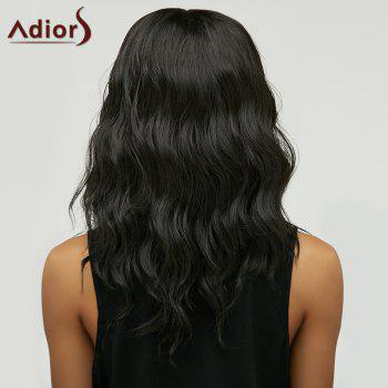 Fluffy Medium Natural Wave Trendy Black Brown Ombre Synthetic Women's Adiors Wig - BLACK/BROWN