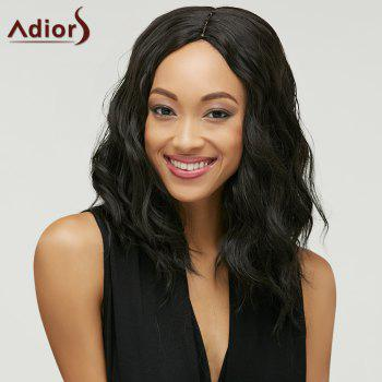 Fluffy Medium Natural Wave Trendy Black Brown Ombre Synthetic Women's Adiors Wig