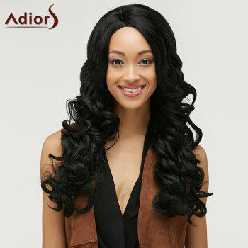 Fluffy Curly Black Synthetic Fashion Long Side Bang Capless Wig For Women