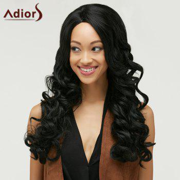 Fluffy Curly Black Synthetic Fashion Long Side Bang Capless Wig For Women - BLACK