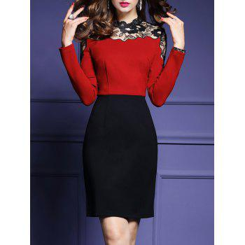 High Waist Lace Panel Sheath Dress