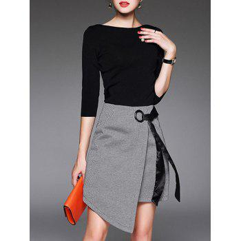 Asymmetrical A Line Skirt And T-Shirt - BLACK BLACK