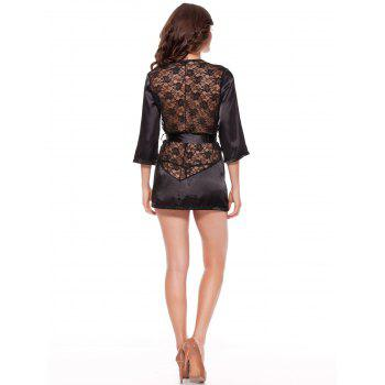 Satin Lace Insert Wrap Babydoll - BLACK XL