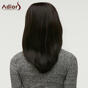 Long Straight Side Parting Synthetic Wig - BLACK BROWN