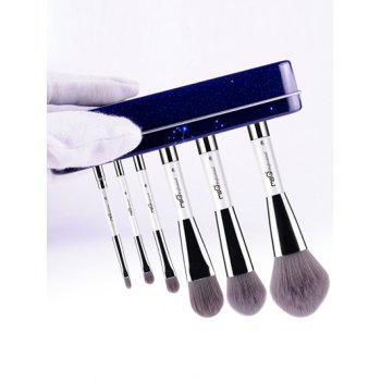 6 Pcs Pisces Magnetic Makeup Brushes Set with Iron Box - BLUE
