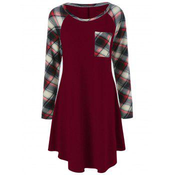Plaid Trim Single Pocket Tee Dress