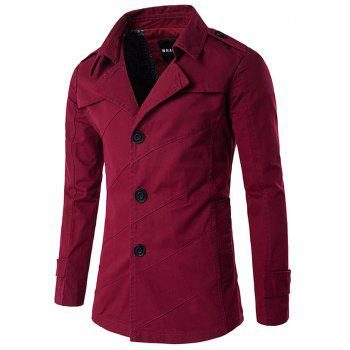 Splicing Design Turndown Collar Single Breasted Coat