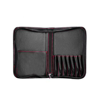 Travel Faux Leather Makeup Storage Bag Cosmetic Bag - BLACK