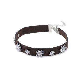 Floral Rhinestone Faux Leather Choker