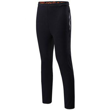 Drawstring Sports Pants with Zips - BLACK BLACK