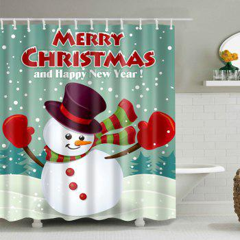 Christmas Snowman Waterproof Bathroom Shower Curtain