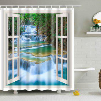 Window Landscape Printed Polyester Waterproof Shower Curtain