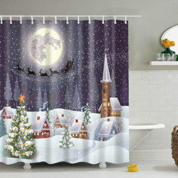 Christmas Fabric Waterproof Snowing Night Bath Shower Curtain