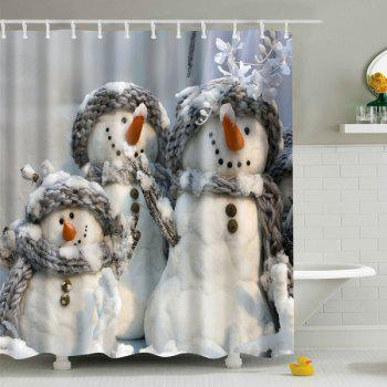 Snowman Printed Waterproof Polyester Shower Curtain Gray