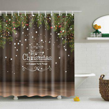 New Year Christmas Waterproof Fabric Bath Curtain - COFFEE COFFEE