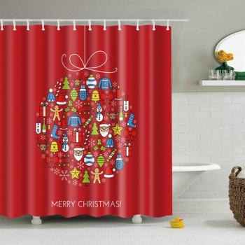 Merry Christmas Waterproof Fabric Bathroom Curtain - RED RED