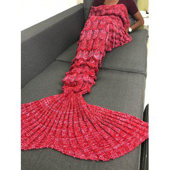 Soft Knitting Fish Scales Design Mermaid Tail Style Blanket - RED