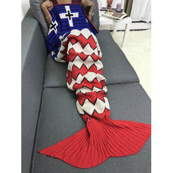 Knitted Wave Stripe Sleeping Bag Mermaid Blanket