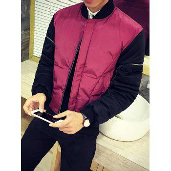 Contrast Color Snap Front Zippered Padded Jacket
