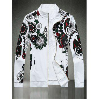 Side Pocket Floral Print Zip Up Jacket
