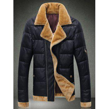 Plush Trim Zip Up Pocket Padded Jacket