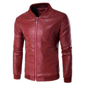 Buy Zip Rib Insert PU Leather Jacket RED