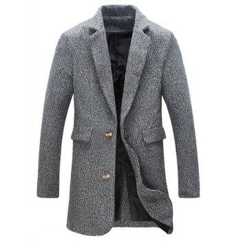 Flap Pocket Heathered Wool Blend Two Button Coat