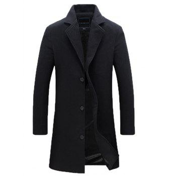 Single Breasted Notch Lapel Plain Wool Blend Coat