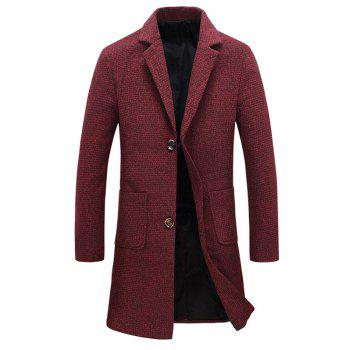 Heathered Pocket Two Button Wool Blend Coat