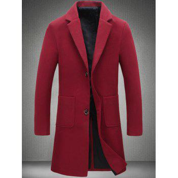 Plain Pocket Two Button Wool Blend Coat