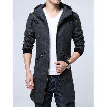 Hooded Pocket Zippered Longline Wool Blend Coat