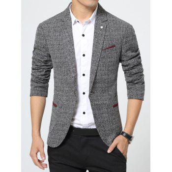 Pocket Notch Lapel Texture One Button Blazer