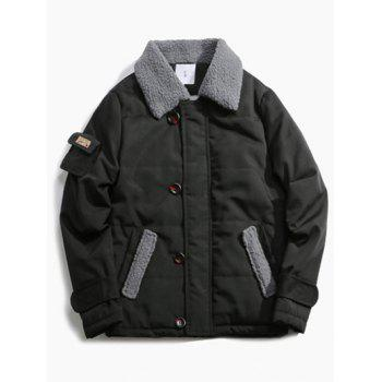 Borg Collar Pocket Design Panel Quilted Jacket