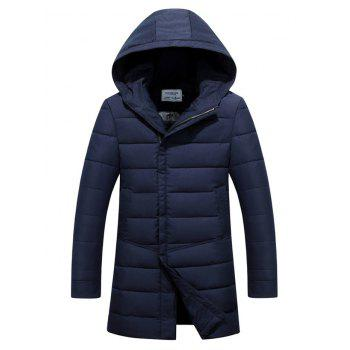 Slim Fit Zipper Up Hooded Quilted Coat