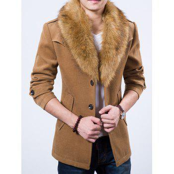 Fur Embellished Lapel Collar Wool Mix Coat