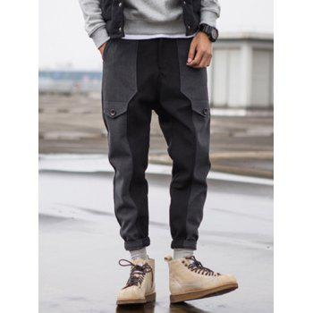 Zipper Fly Wool Blend Panel Jogger Pants