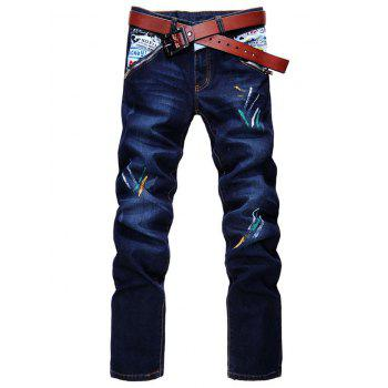 Zipper Fly Straight Leg Spray Paint Panel Jeans