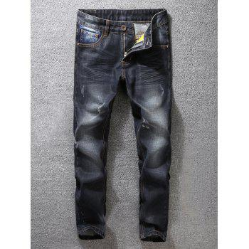 Tapered Zipper Fly Scratched Jeans