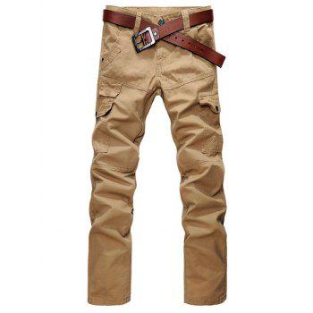 Zipper Fly Straight Leg Cargo Pants with Pockets