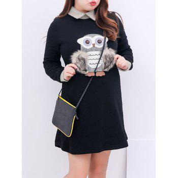 Plus Size Animal Owl Insert Fleece Lined Dress
